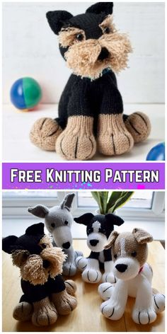 Knit Amigurumi Dog Toy Sofites Free Knitting Patterns - Free Freddie the Deradog Schnauzer dog toy pattern
