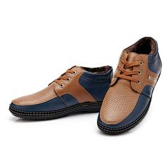 Men Winter Cotton Plush Casual Comfortable Fashion Keep Warm Handcraft Lace- Up Leather Shoes