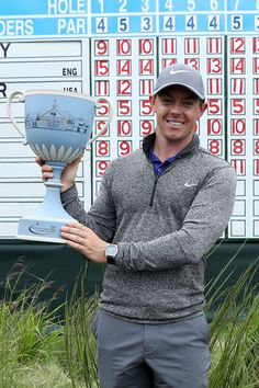 Rory McIlroy poses with the trophy during the final round of the Deutsche Bank…