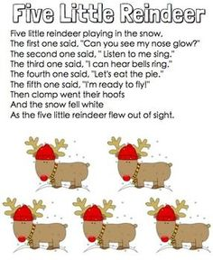 5 Little Reindeer Christmas Pocket Chart Poetry Packet 5 Little Reindeer is a fun pocket chart activity. I have included the cards and pictures needed for the pocket chart. A headband for your students to make and wear while performing the poem.