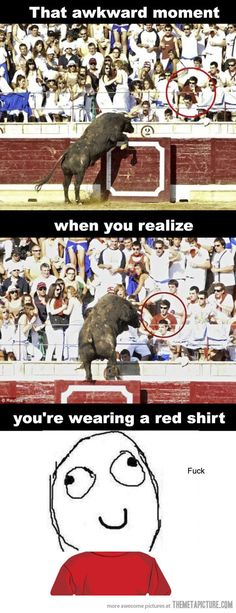funny bull jumping crowd red shirt