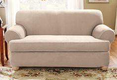 Sure Fit Stretch Suede T-Cushion Sofa Slipcover, Beig/Green (Beig/Khaki) Loveseat Slipcovers, Cushions On Sofa, Sectional Sofas, Couches, Furniture Covers, Sofa Furniture, Fine Furniture, Sure Fit Slipcovers, Suede Sofa