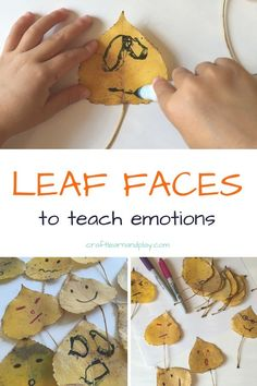 Fall Activities For Preschoolers To Teach Emotions: Leaf Faces - - Simple fall activities for preschoolers to teach child about emotions. Great way to help toddler and preschooler to demostrate diferent feelings. Toddlers And Preschoolers, Fall Activities For Toddlers, Forest School Activities, Outdoor Activities For Kids, Summer Activities, Halloween Preschool Activities, Children Activities, Outdoor Learning, Social Emotional Activities