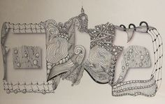 Zentangle with Hebrew Letters by Ronni Pressman