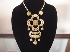 Vintage 1960s Runway Necklace in Gold Etruscan Revival
