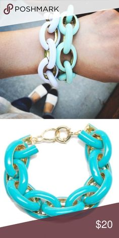 "18k Enamel Bracelet Metal enamel link bracelets. Comes in a choice of white or aqua turquoise. Perfect piece as a wardrobe essential. Adorable design. 18k Plated gold. Size 7.5"" T&J Designs Jewelry Bracelets"