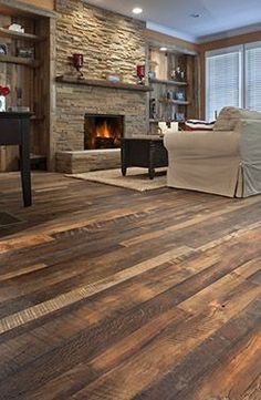 Antique reclaimed wood flooring, with our Carolina Character© surface style, and a natural WOCA oil finish. # Love the shades of the flooring Cheap Hardwood Floors, Reclaimed Hardwood Flooring, Dark Hardwood, Engineered Hardwood, Oak Flooring, Vinyl Flooring, Flooring Types, Rustic Wood Floors, Flooring Cost