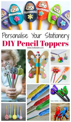 Pencil Topper Craft Ideas - Oh my, these Pencil Topper DIYs are all so CUTE! Something for all ages here, a great way to personalise your Back to School Stationery in a fun and colourful way. Pencil toppers also make great gifts for friends or for teach Easy Crafts For Kids, Craft Activities For Kids, Diy For Kids, Fun Crafts, Craft Ideas, Decor Crafts, Craft Projects, Pencil Topper Crafts, Pencil Crafts