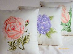 Embroidered pillow  Linen pillow salmon by JulieButlerCreations, $28.50