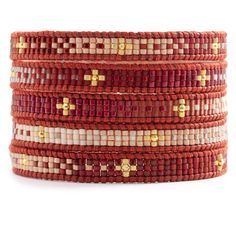 Red Mix Beaded Wrap Bracelet on Natural Dark Red Leather - Chan Luu Bead Loom Bracelets, Beaded Wrap Bracelets, Jewelry Bracelets, Jewlery, Bead Jewellery, Beaded Jewelry, Red Jewelry, Chan Luu, Silver Bangles