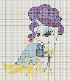 Buzy Bobbins: Rarity in a blue and yellow Canterlot dress cross stitch design