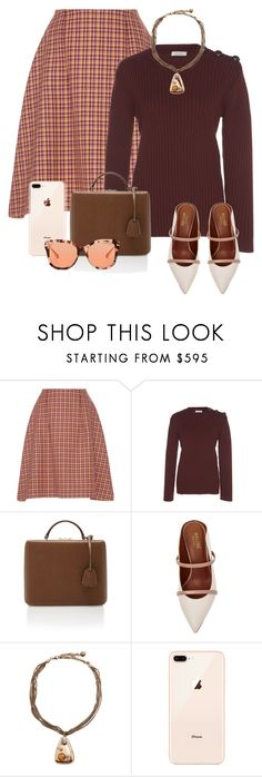 """""""Checkered Skirt"""" by cherieaustin ❤ liked on Polyvore featuring Mark Cross, Malone Souliers and Michael Kors"""