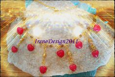 Beautiful Handmade Gold Necklace with Red Jade Hearts & Roses Red Jade belong to the Root Chakra. Red Jade Support our life-energy and our deepest emotions, also the ones, as we rarely show oth…