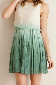 642fe007cf5 Shop the world s best Boutiques. Short OmbreCrinklesGreen DressPleated ...