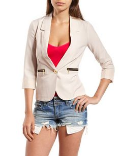 Zip-Pocket Cuffed-Sleeve Blazer: Charlotte Russe