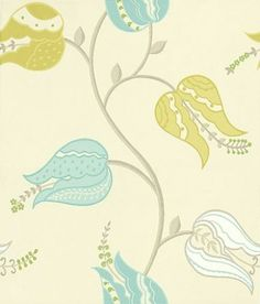 Isfahan Tulip (W6490-04) - Osborne & Little Wallpapers - A trail of stylised large scaleTulip flowers. Shown in lime, white and turquoise with green detail on a soft beige background. Please request sample for true colour match, as colours are much more vibrant than shown.