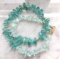 Aquamarine and Apatite Necklace choker length 14kGF by Livingatnight