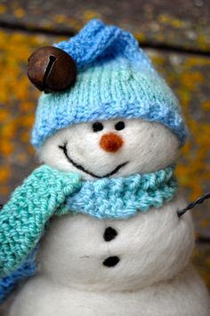 Wool Snowman Needle Felted By Teresa Perleberg  101