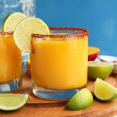 Simple mango margaritas with lime, agave and silver tequila. Tart, sweet, customizable and perfect with Mexican dishes!
