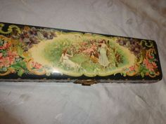 This is an old Victorian era celluloid top and velvet with celluloid base box from estate. It is large at 13 by by and features a chromolithograph image of a beautiful lady with a branch or sprig with an apple blossom looking flower. Art Nouveau, Photo Buttons, Vintage Tins, Tin Boxes, Antique Photos, Lady, Victorian, Antiques, Vanities