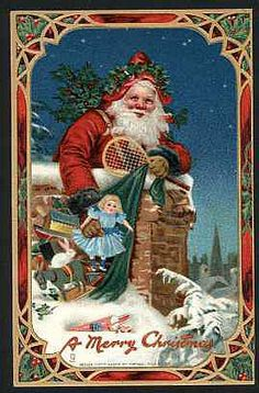 Old Christmas postcard Merry Christmas Santa, Christmas Scenes, Old Fashioned Christmas, Christmas Past, Victorian Christmas, Father Christmas, Christmas Mantles, Christmas Villages, Christmas Christmas