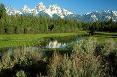 Image of the Grand Tetons, sagebrush and part of the Snake River in Grand Teton National Park near Jackson, Wyoming. Grand Teton National Park, National Parks, Teton Mountains, Jackson Hole Wyoming, Snake, Traveling, Bucket, River, Places