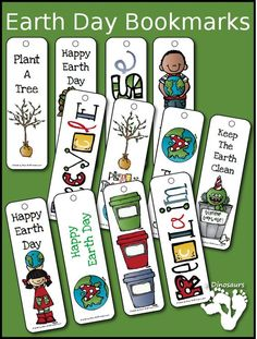 Earth Day Themed Bookmarks - 12 different bookmarks for kids - 3Dinosaurs.com
