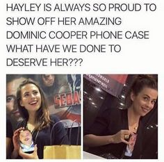 She was talking about I the phone case at wizard world and apparently Dominic Cooper hates that photo and that's why she put it on the phone case