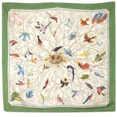 Vintage Gucci Bird Print Silk Scarf