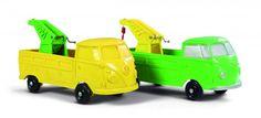 Tomte VW Pick-up med kran. 2 biler i omvendte farger. Modell 562 og 563. Serien 1:30