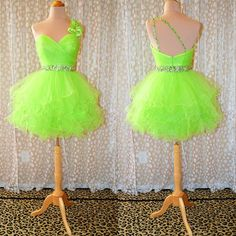 New Style 2014 Free Shipping Sexy One Shoulder Lime Neon Ball Gown Party Prom Dresses Gowns Short Homecoming Dresses $114.99