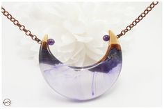 Glowing Purple Mist Moon Pendant necklace. by CutBranchJewelry