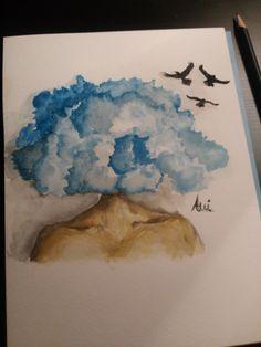 Z głową w chmurach. Akwarela/ watercolor
