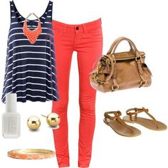 coral jeans, navy and white stripes