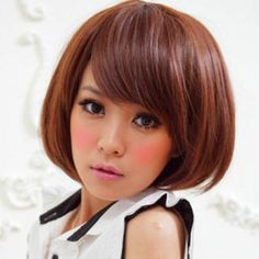 Short Full Wig - Straight Light Auburn - One Size Light Auburn, Trendy Hairstyles, Beauty Makeup, Salons, Wigs, Chic, Hair Styles, Color, Education