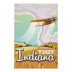 Indiana vintage travel poster