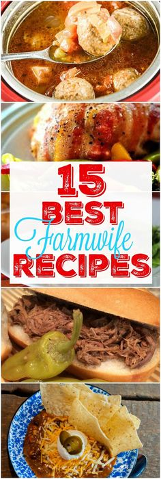 15 Best Farmwife Recipes including Crock Pot Cubed Steak, Crock Pot Italian Beef Sandwiches,  Beef Taco Soup, BBQ Ribs, Taco Bake, Beef Stew, Buffalo Chicken Dip, OMGeeee Brownies and more! These are their most popular recipes all in one place!