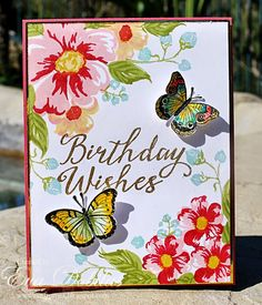Home > Products > Romantic Wild Roses Clear Stamps Homemade Birthday Cards, Homemade Cards, Diy Birthday, Happy Birthday, Butterfly Cards, Flower Cards, Get Well Cards, Mothers Day Cards, Sympathy Cards