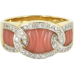 Fluted Coral Diamond Band Ring Vintage 18 Karat Gold Estate Fine Jewelry Pre Own. - Fluted Coral Diamond Band Ring Vintage 18 Karat Gold Estate Fine Jewelry Pre Owned - Coral Jewelry, Silver Jewelry, Fine Jewelry, Gold Jewellery, Jewelry Rings, Silver Rings, Bling Bling, Antique Jewelry, Vintage Jewelry
