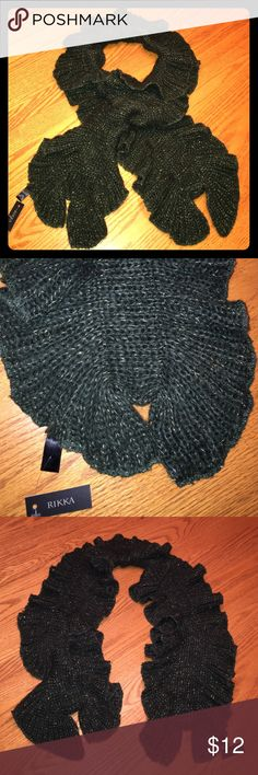 "Rikka Scarf. ""Crochet & Ruffled"" style. SO SOFT! Rikka Hunter Green with Gold Thread Accents. New with tags. So soft and warm. Has a crochet/ruffled style. Rikka Accessories Scarves & Wraps"