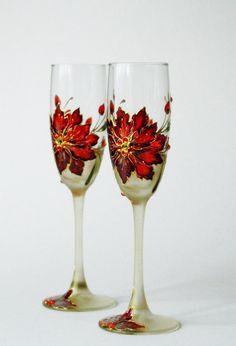 #wedding #wedding_glasses #champagne_glasses Hand Painted Wedding Glasses Champagne Wedding by NevenaArtGlass, $59.80