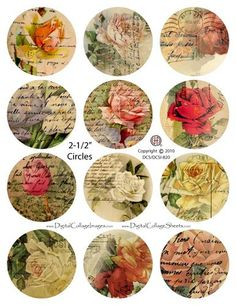 2.5 Inch Circles Digital  Collage Sheet Shabby Flowers  DCS-820  Digitalcollagesheets. $3.95, via Etsy.
