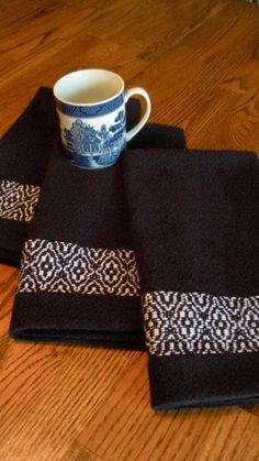 Tea Towel Navy Blue Overshot Handwoven by ThistleRoseWeaving