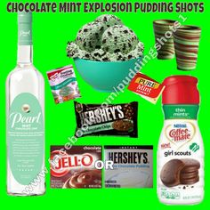 Chocolate Mint Explosion Pudding Shots.  See full recipe and more on www.facebook.com/puddingshots1