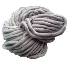Several skeins of Zituop Super Chunky Roving Big Yarn for Hand Knitting Crochet, 250g, 8.8 Ounze (Light Grey)