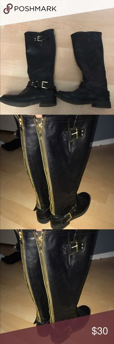 Just fab tall black w/ gold detailing riding boots I wore these a few times last winter, but my style has changed and I haven't worn them once this winter! Living in Arizona, i don't get too much use out of these so I figured I should let someone else enjoy them:) JustFab Shoes Winter & Rain Boots