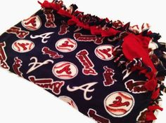 Atlanta Braves Tie Blanket - MLB Baseball Fleece No Sew - Custom Made Quilt - Comes in Toss, Throw, Minky Sizes - 4 Adult and Baby. $57.00, via Etsy.