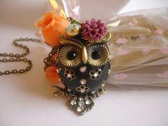 3D Chubby Owl Necklace. Black. $26.00, via Etsy.