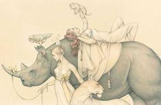 """Traveling Circus (Circo viajero)"", técnica mixta sobre vitela, 33"" x 21"", 2010"