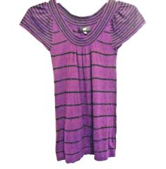 Mossiamo Purple Black Stripe Flared Top Cotton Rayon Size XS Cap Sl. Scoop Neck #Mossimo #ScoopNeck